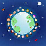 People around globe in space Royalty Free Stock Photo