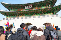 People   around Gyeongbokgung Palace in Seoul, Korea in South Ko Royalty Free Stock Images