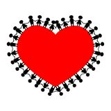 People around the heart holding hands. Valentine's Day royalty free illustration