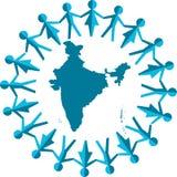 People around india map Royalty Free Stock Image
