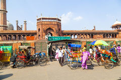 People around Jama Masjid Mosque, Royalty Free Stock Images