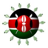 People around Kenyan flag sphere Royalty Free Stock Photos