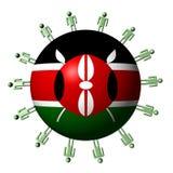 People around Kenyan flag sphere royalty free stock photos