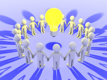 People around a light bulb. 3d people form a circle around a light bulb Royalty Free Stock Photography
