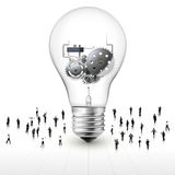 People around the light bulb with gear. Vector illustration of complex gear machine in the light bulb Royalty Free Stock Photo
