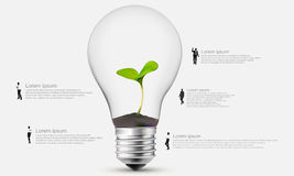 People around the light bulb with plant. Light bulb with plant showing isolated on white background Royalty Free Stock Photo