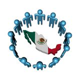 People around Mexico map flag Stock Images