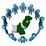 People around Pakistan map flag Stock Photos