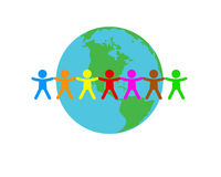 The people around of a planet. The multicoloured people dance around of a blue planet Stock Images