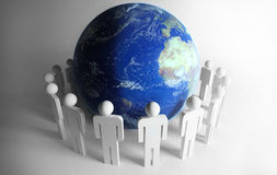 People around planet Royalty Free Stock Photography