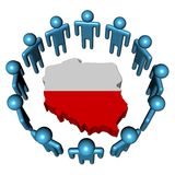 People around Poland map flag Stock Photos