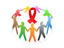 People around the red ribbon AIDS symbol Royalty Free Stock Images