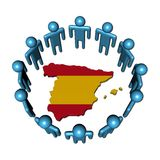 People around Spain map flag Royalty Free Stock Photography