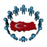 People around Turkey map flag Stock Image