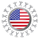 People around a us flag illustration design Royalty Free Stock Image