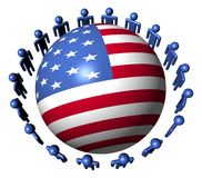people around USA flag sphere Stock Photos