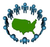 People around USA map Royalty Free Stock Image