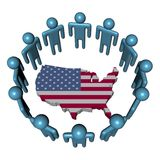 People around USA map flag Royalty Free Stock Images