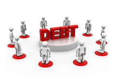 People around word debt Royalty Free Stock Photos
