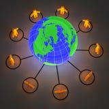 People around the world. 3d render of orange glowing people around the world Royalty Free Stock Photography