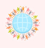 People around the world holding hands. Unity concept illustratio Stock Photos