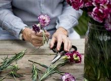 People Arranging Fresh Flowers Vase Concept Royalty Free Stock Photo