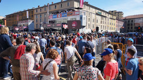 People on arrival of the 15th stage in Bergamo city of 100th Giro d`Italia annual multiple-stage bicycle race. Tour of Italy. royalty free stock images