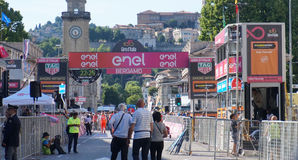 People on arrival of the 15th stage in Bergamo of 100th Giro d`Italia annual multiple-stage bicycle race. Tour of Italy royalty free stock photo