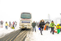 People arrive with public bus transportation at the Feldberg in Stock Image