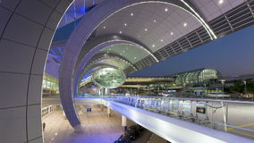 People arriving and departing from dubai international airport with a futur stock video