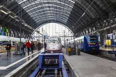 People arriving or departing at the Frankfurt main train station Stock Images