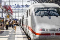 People arriving or departing at the Frankfurt  train station Royalty Free Stock Photo