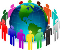People arround earth Stock Photo