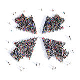 People arrow direction 3d. Large and creative group of people gathered together in the shape of an arrow, the direction of the image. 3D illustration, isolated Royalty Free Stock Photo