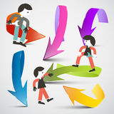 People and Arrows Vector. People and 3d Arrows Vector Royalty Free Stock Photos