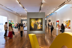 People in an art exhibition in the Malba Museum in the city of Buenos Aires Stock Image