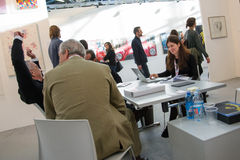 People in an art fair Royalty Free Stock Images