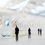 People in the art gallery center Royalty Free Stock Photo