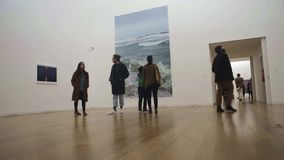 People in art gallery onlooker beholder stock video footage