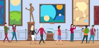 People in art museum. Viewers walk and watch painting and artworks in contemporary art exhibition royalty free illustration