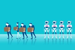 People with artificial intelligence. Businesspeople fired from job with artificial intelligence on the blue background Royalty Free Stock Image