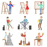 People With Artistic Professions Set Of Illustrations Stock Image