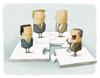 People as pieces of a business puzzle. Illustration of People as pieces of a business puzzle Stock Photography