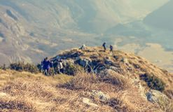 People ascending a mountain. Royalty Free Stock Image