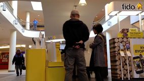 People asking fido sales clerk about cellphone plan Royalty Free Stock Image
