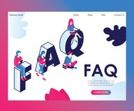 People are Asking Frequently Asked Questions Isometric Artwork Concept royalty free illustration