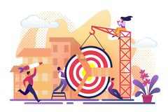 People Assemble Huge Target Pieces Building Crane royalty free illustration