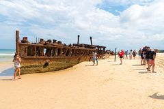 People At The Maheno Shipwreck On 75 Mile Beach, One Of The Most Popular Landmarks On Fraser Island, Fraser Coast, Queensland, Aus Royalty Free Stock Photos