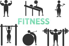 Body Workout Exercise Fitness Training Stick Figure Pictogram Icons. Man and woman. stock illustration