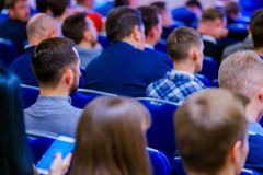 People attend business conference in congress hall royalty free stock image
